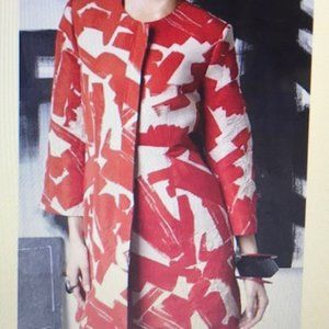 Doo.Ri Abstract Long Trench Red and White …